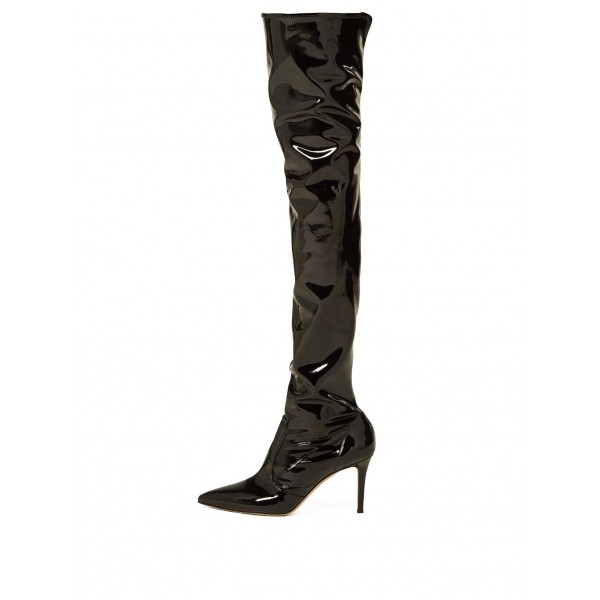 Black Patent Leather Thigh High Heel Boots Stiletto Heel Boots image 4