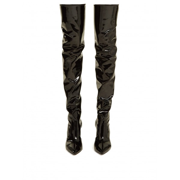 Black Patent Leather Thigh High Heel Boots Stiletto Heel Boots image 5