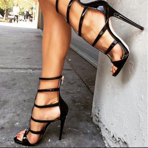 Black Patent Leather Vegan Shoes Open Toe Stiletto Heel Sandals image 1