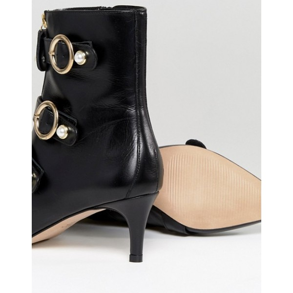 Black Pearl Buckles Kitten Heel Boots Fashion Ankle Booties with Zip image 4