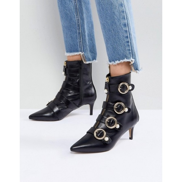 Black Pearl Buckles Kitten Heel Boots Fashion Ankle Booties with Zip image 2