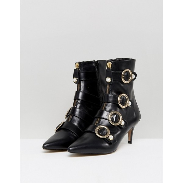 Black Pearl Buckles Kitten Heel Boots Fashion Ankle Booties with Zip image 3