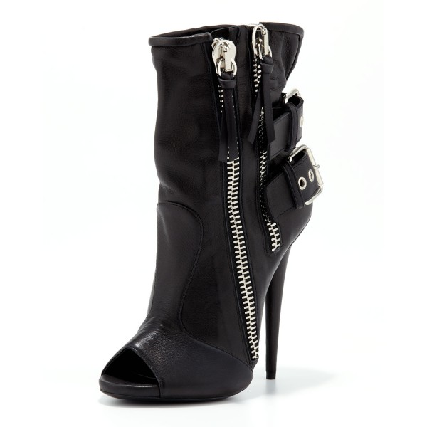 Black Ankle Booties Peep Toe Stiletto Boots with Buckles image 3