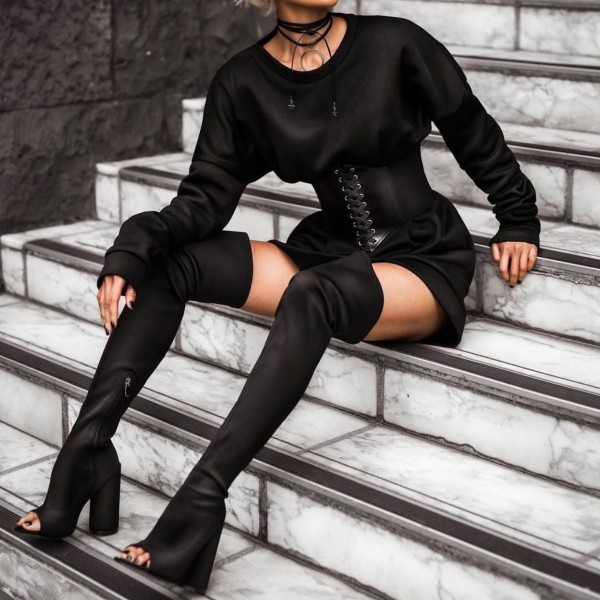 Black Peep Toe Chunky Heel Boots Thigh High Boots image 1