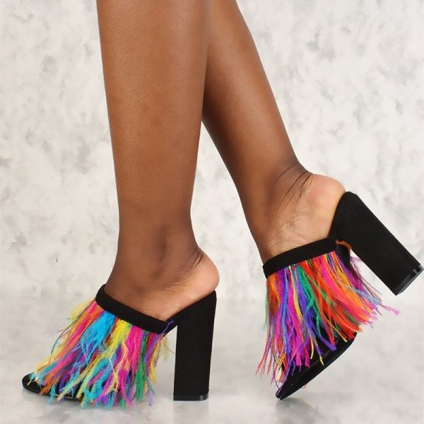 64945678f24d Black Peep Toe Colorful Feather Chunky Heels Mules Sandals image 1 ...