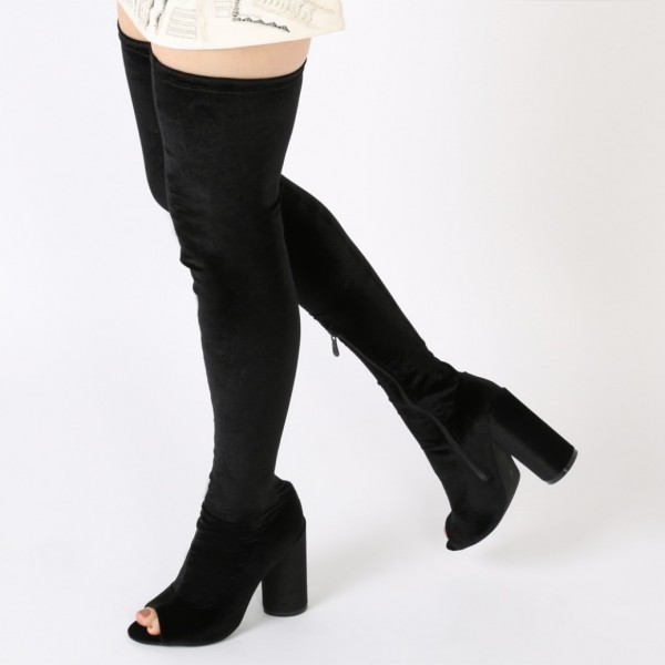 58bf061aeec7 Black Velvet High Boots Peep Toe Cylindrical Heel Thigh High Boots image 1  ...