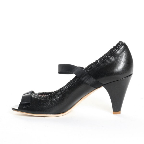 Black Peep Toe Mary Jane Pumps Cone Heel Vintage Shoes with Bow image 2