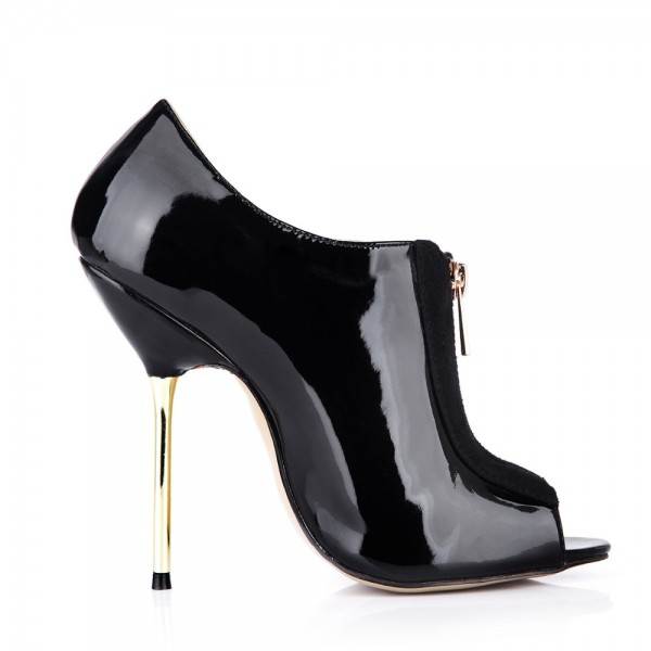 Women's Black Fashion Boots Peep Toe Stiletto Heels Ankle Boots image 4
