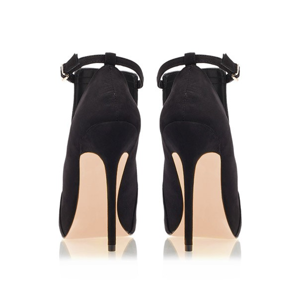 Black Peep Toe Heels Cut out Suede Ankle Strap Stiletto Heel Pumps image 4