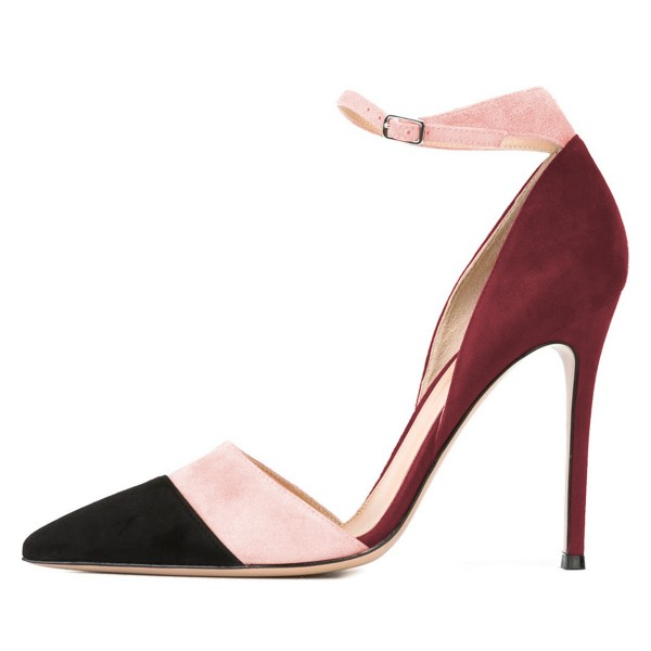 Black Pink and Plum Pointy Toe Stiletto Ankle Strap Heels Pumps image 3