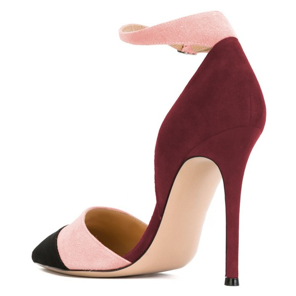 Black Pink and Plum Pointy Toe Stiletto Ankle Strap Heels Pumps image 4