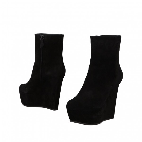 Black Suede Platform Ankle Boots Wedge Booties with Zipper image 1