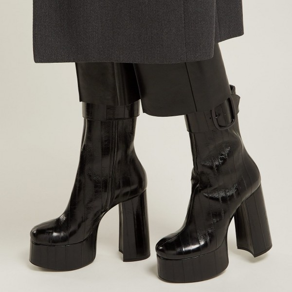 Black Platform Boots Chunky Heel Buckle Ankle Boots image 2