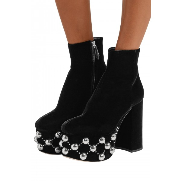 Black Platform Boots Silver Studs Chunky Heel Ankle Boots image 1
