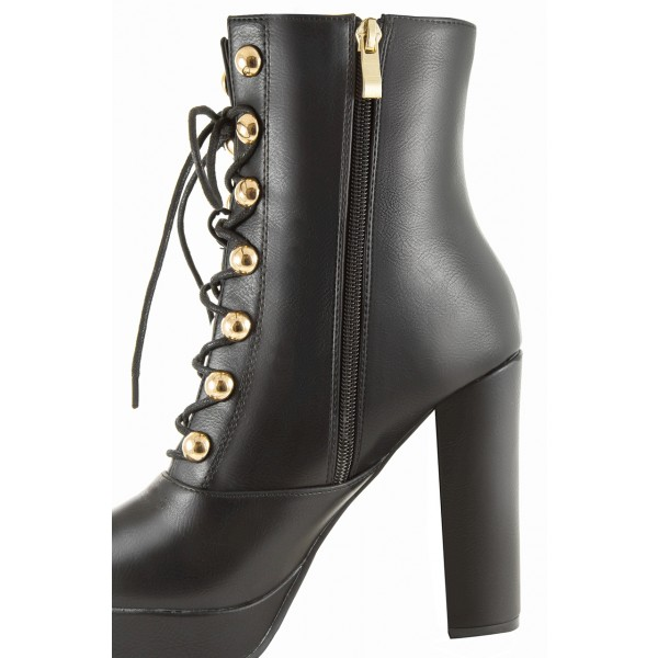 Black Platform Chunky Heel Boots Rivets Lace Up Ankle Booties image 3