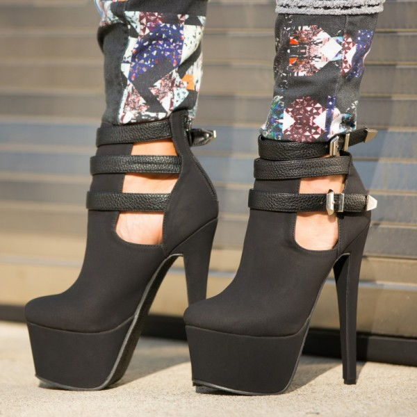 Black Suede Platform Boots Three-Strap Cut out Ankle Boots image 1