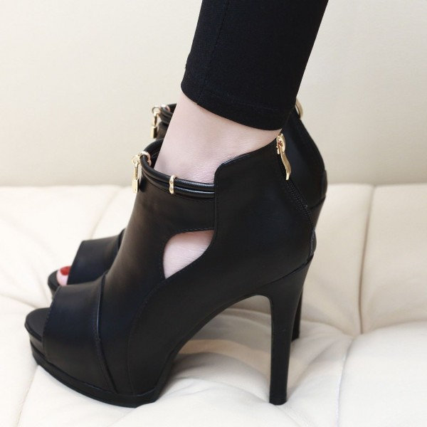 2a2fc91ef877 ... Black Peep Toe Cut Out Boots Platform Stiletto Heel Ankle Boots image 5  ...