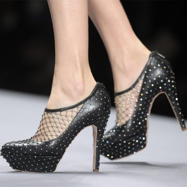 Black Platform Heels Pumps Stilettos Net Sexy High Heel Shoes image 1