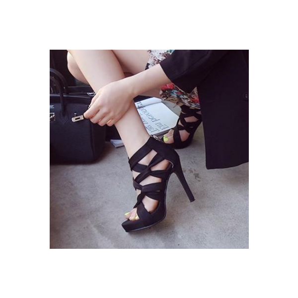 Women's Black Strappy Stiletto Heels Open Toe sandals image 5