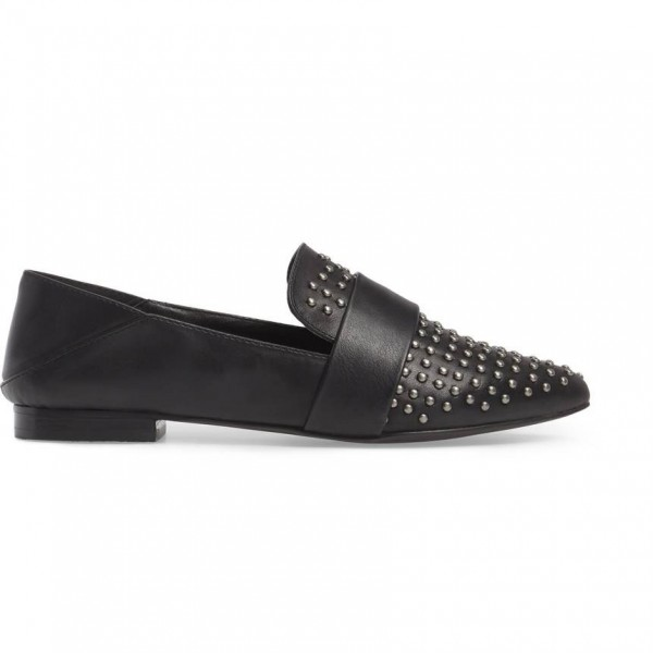 Black Pointed Toe Loafers for Women Comfortable Flats with Studs image 4