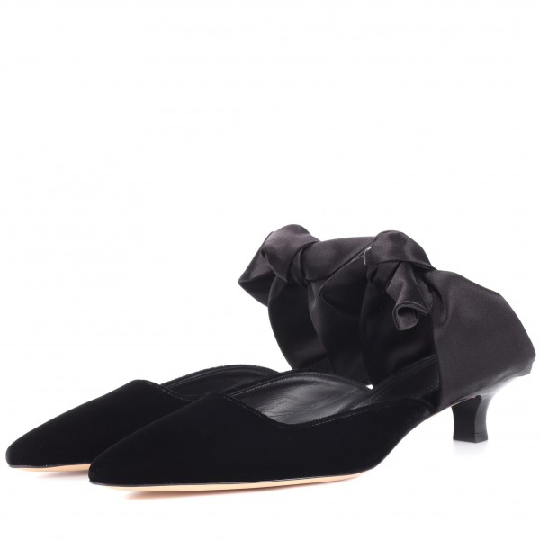 Black Pointed Toe Mule Heels Cone Heel Suede Shoes with Bow image 4
