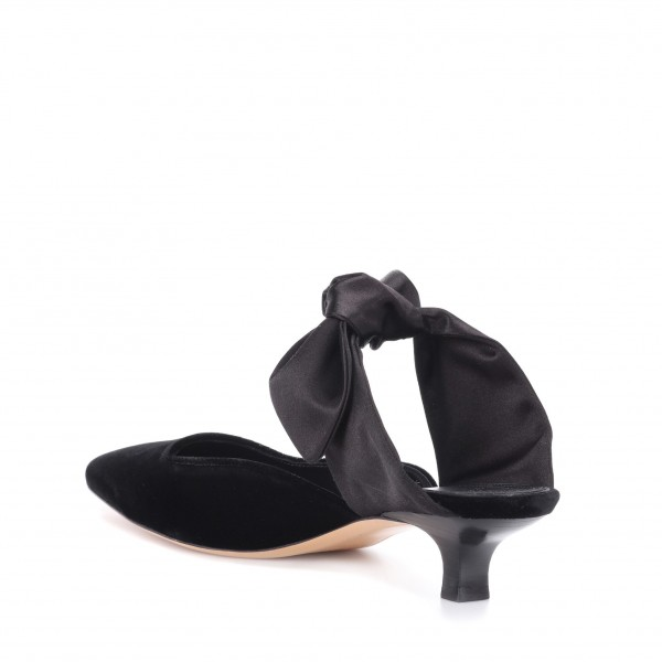 Black Pointed Toe Mule Heels Cone Heel Suede Shoes with Bow image 3