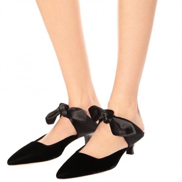 Black Pointed Toe Mule Heels Cone Heel Suede Shoes with Bow image 1