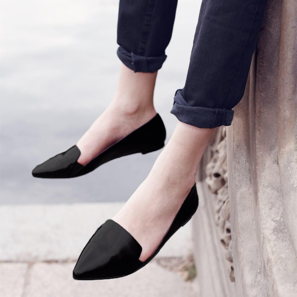 Black Pointed Toe Comfortable Flats School Shoes image 1