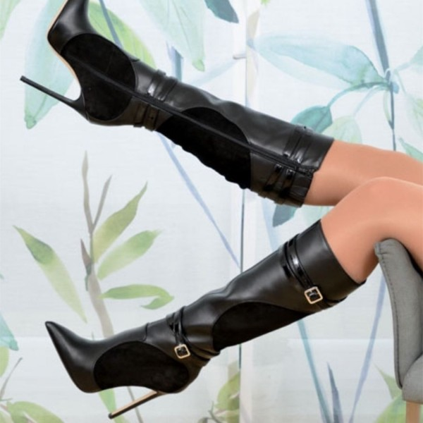 Black Pointy Toe Buckles Stiletto Boots Pointy Toe Mid-calf Boots image 1