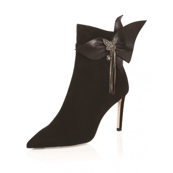 Black Pointy Toe Butterfly Rhinestone Bow Stiletto Heel Ankle Booties image 1