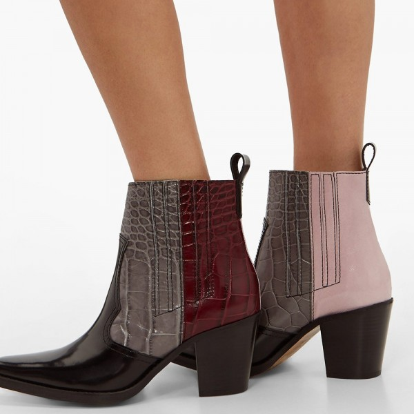 Multi-Color Square Toe Block Heel Boots Ankle Boots image 4