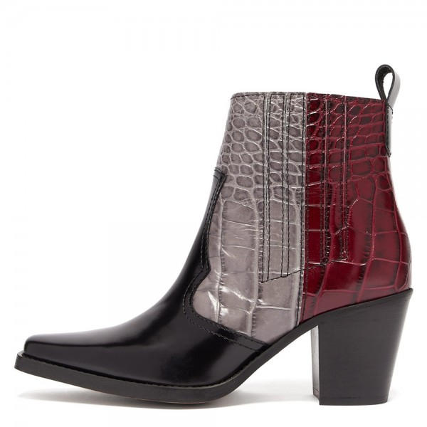 Multi-Color Square Toe Block Heel Boots Ankle Boots image 1