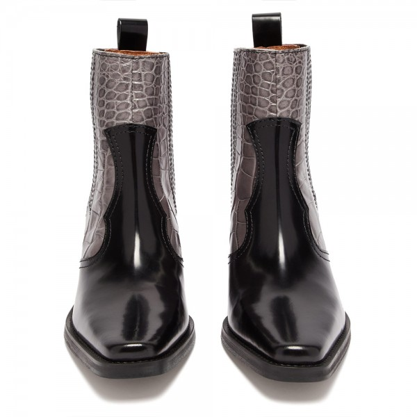 Multi-Color Square Toe Block Heel Boots Ankle Boots image 3