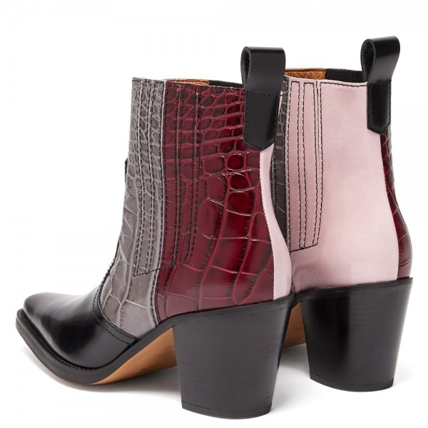 Multi-Color Square Toe Block Heel Boots Ankle Boots image 2