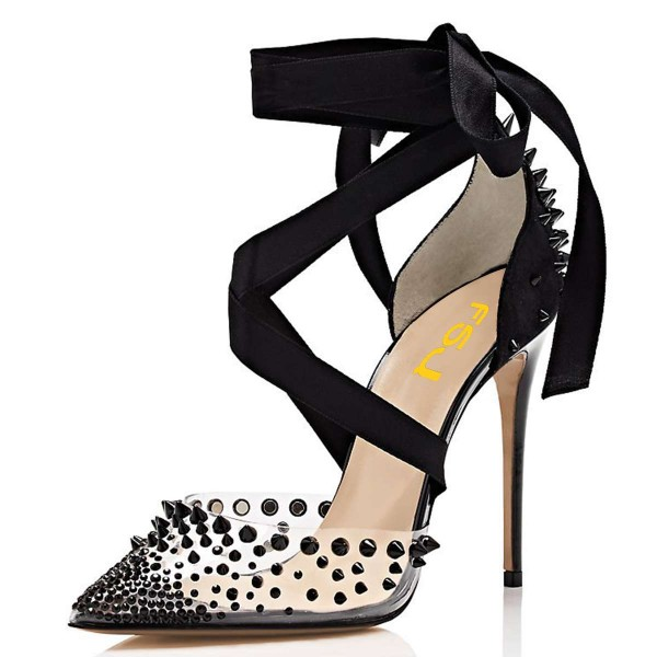 Black Pointy Toe Clear Heels Studs Shoes Transparent Cross over Pumps image 1