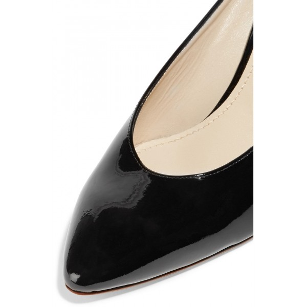 Black Pointy Toe Cone Heel Mules Office Pump image 3