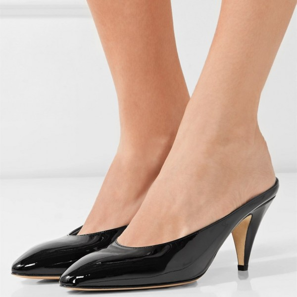 Black Pointy Toe Cone Heel Mules Office Pump image 1