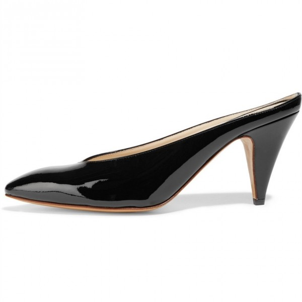 Black Pointy Toe Cone Heel Mules Office Pump image 4