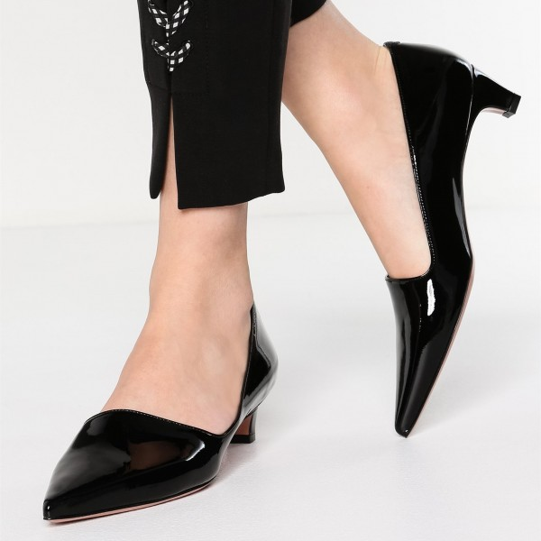 Black Pointy Toe Cone Heels Office Heels for Women image 1