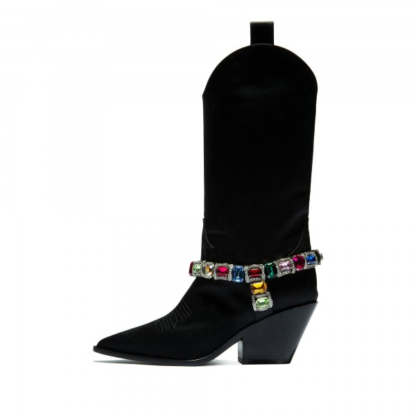 Black Pointy Toe Crystal Cowgirl Boots Block Heel Mid Calf Boots image 2