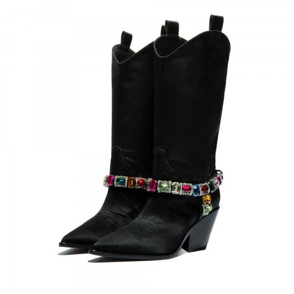 Black Pointy Toe Crystal Cowgirl Boots Block Heel Mid Calf Boots image 1