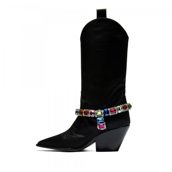 Black Pointy Toe Crystal Cowgirl Boots Block Heel Mid Calf Boots image 4