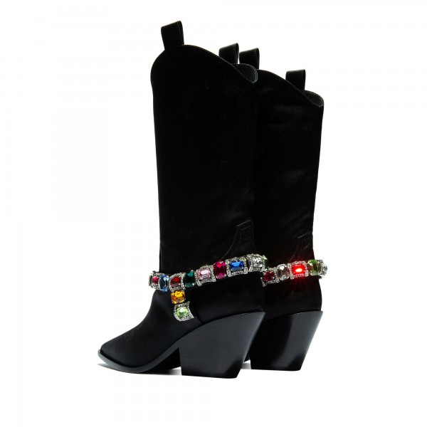 Black Pointy Toe Crystal Cowgirl Boots Block Heel Mid Calf Boots image 5
