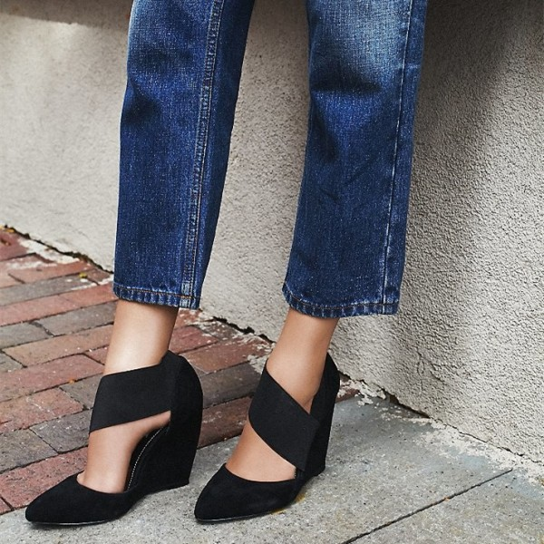 7f423ba26 Black Pointy Toe Elastic Strap Wedge Heels Pumps Suede Office Shoes image 1  ...