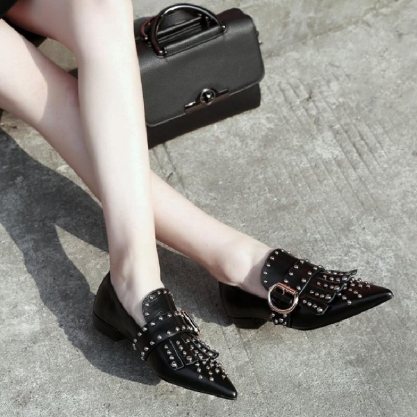Black Studs Shoes Loafers for Women Pointy Toe Vintage Fringe Flat image 3