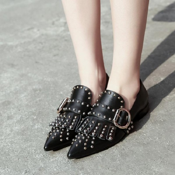 Black Studs Shoes Loafers for Women Pointy Toe Vintage Fringe Flat image 2