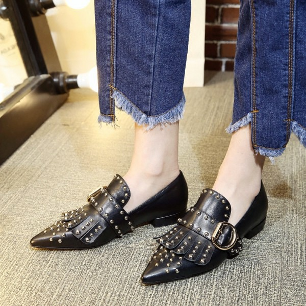 Black Studs Shoes Loafers for Women Pointy Toe Vintage Fringe Flat image 7