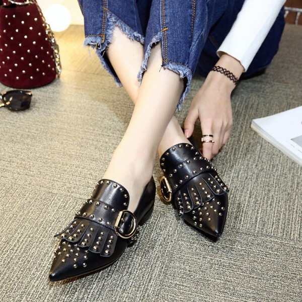 Black Studs Shoes Loafers for Women Pointy Toe Vintage Fringe Flat image 1