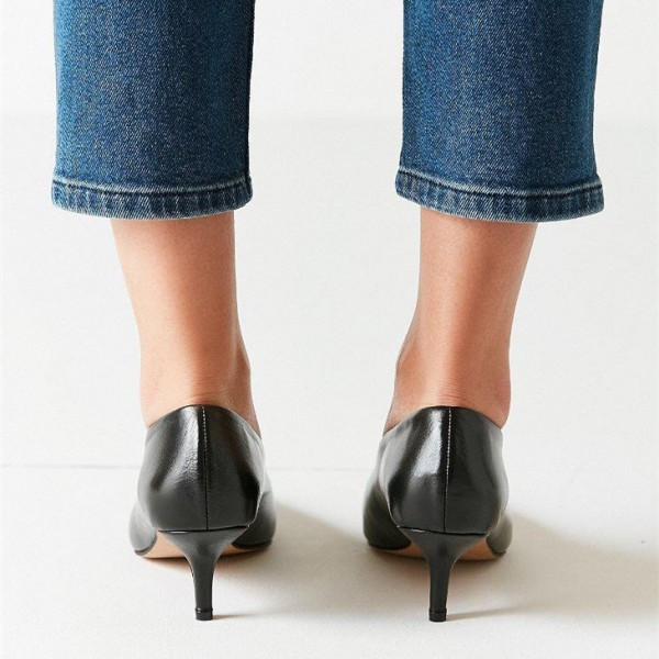 Black Pointy Toe Kitten Heels Vintage Shoes for Women image 3