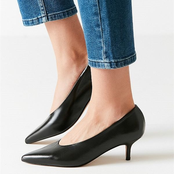 Black Pointy Toe Kitten Heels Vintage Shoes for Women image 1